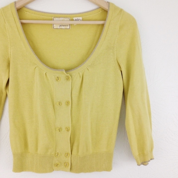 Anthropologie Sweaters - Anthro | Guinevere Cropped Pale Yellow Cardigan
